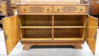 Golden Oak Carved Sideboard Cupboard